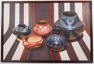 Oil on Canvas, Santa Clara Pottery