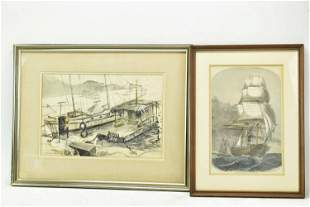 Water Color on Paper of Docked Ships