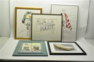 Group of Five Assorted Art Works