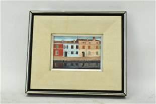Oil on Canvas Comacchio Italy Street Scene.