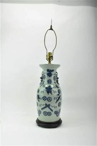 Antique Chinese Blue & White Decorated Vase