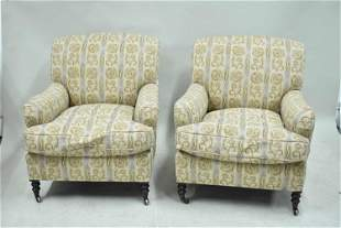 Pair of George Smith Upholstered Armchairs