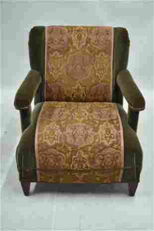 Green Velvet Upholstered Easy Chair