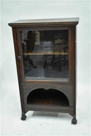 Victorian Walnut Glass Door Bookcase Cabinet