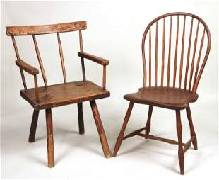 Primitive Oak Windsor Armchair