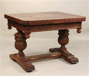 Baroque Style Oak Draw Bar Extension Dining Table