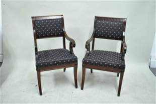 Pair of Baker Neoclassical Style Arm Chairs