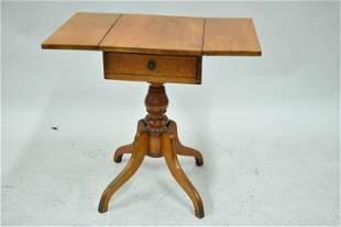Antique Maple Single Draw Drop Leaf Work Table