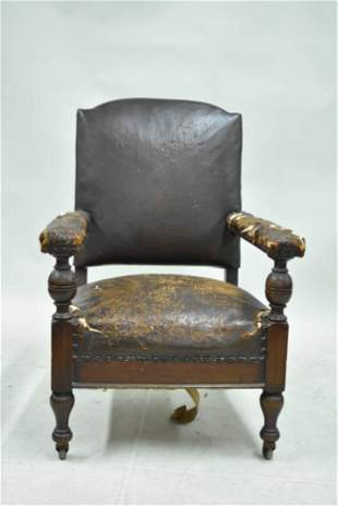 Antique Arts + Crafts Leather Armchair