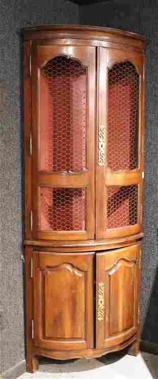 French Provincial Style Walnut Corner Cupboard