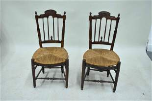 Pair of Carved Walnut Rush Seat Side Chairs