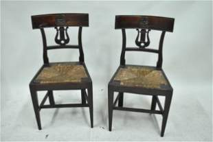 Pair of Carved Mahogany Rush Seat Side Chairs