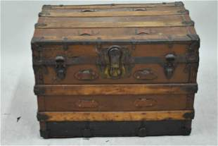 Antique Thos. G Hunt Wooden Steamer Trunk