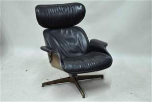 Charles Eames Style Black Leather Lounge Chair