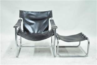 Mid Century Modern Leather and Chrome Easy Chair