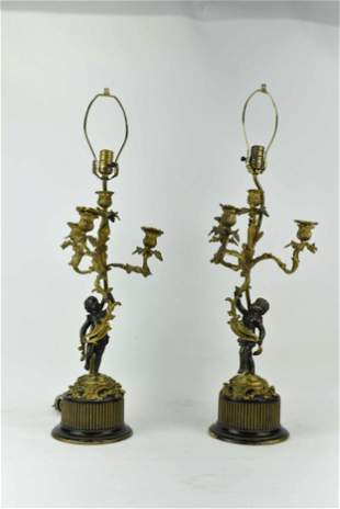 Pair of Antique French 4-Light Candelabras