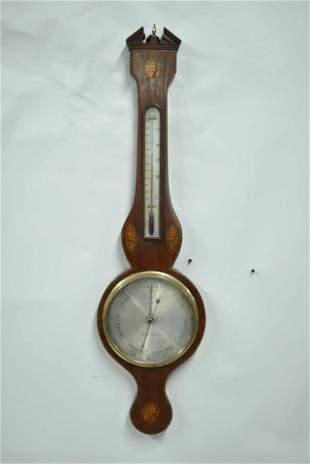 D. Lione English Mahogany Wall Barometer