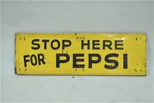 Vintage Metal Painted Pepsi Advertising Sign