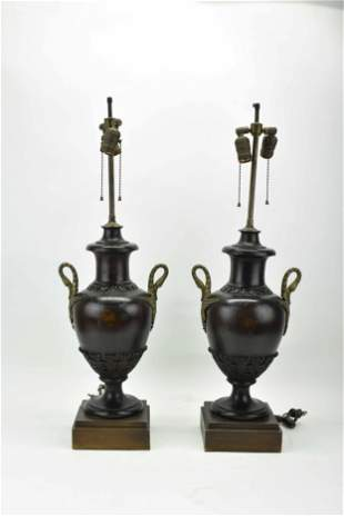 Pair of Antique Carved Wood Baluster Table Lamps