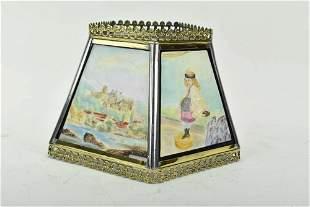 German Porcelain Lithophane Lamp Shade