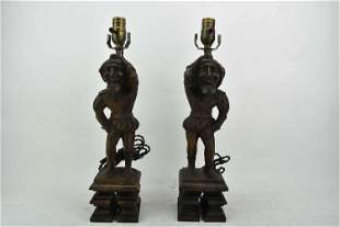 Pair of Carved Wood Jesters Mounted as Lamps