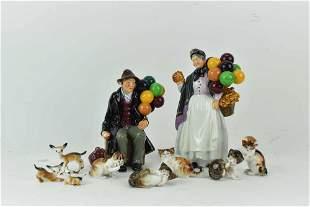 Group of Royal Doulton Porcelain Cat Figurines