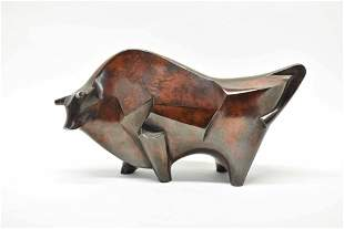 Art Deco Bronze Bull Sculpture