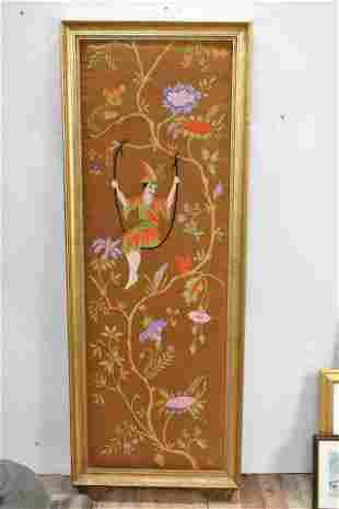 Asian Style Needlework Framed Panel