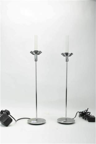 Pair of Modern Chrome Table Lamps
