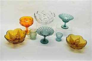 Group of Colored Pressed Glass Table Articles