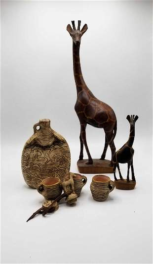 Ceramic Canteen & Hand Carved Wood Giraffes