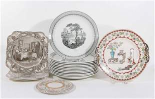 Group of English Transferware Porcelain Plates