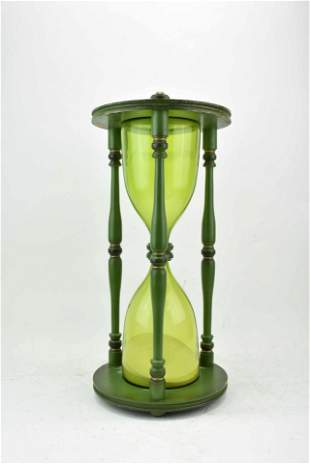 Large Wooden Green Hour Glass 23""