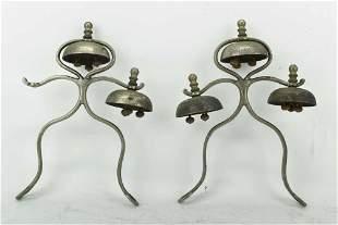 2 Antique Horse Hames Bells Chimes
