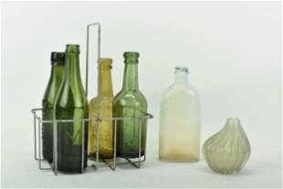 4 Vintage Green Glass Beer Bottles