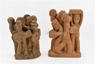 Two Hand Carved Wood Figural Statues