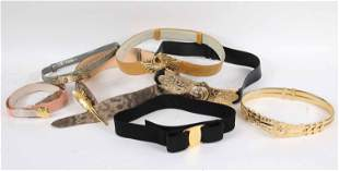 One Ferragamo Belt and Five Judith Leiber Belts