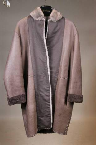 Dyed Gray Mink Fur and Lambs Wool Jacket