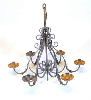 Painted Wrought-Iron & Tole Six-Light Chandelier