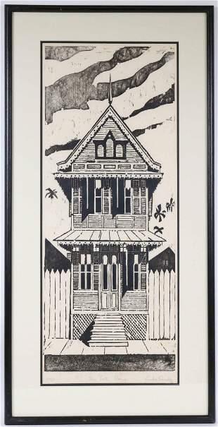 "Woodblock Print, Emilio Sanchez, ""The Tall House"""