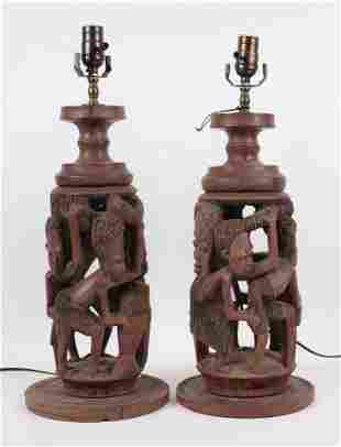 Pair of Ethnographic Wood Carved Lamps