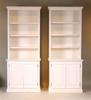 Pair of Contemporary White-Painted Bookcases