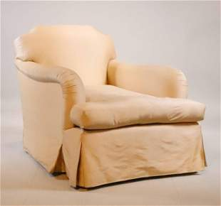 Contemporary Beige-Upholstered Club Chair