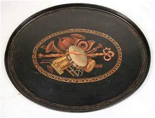 Victorian Instrument-Decorated Papier Mache Tray