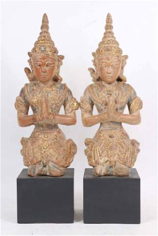Pair of Thai Gilt-Decorated Terracotta Figures