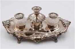 Vintage Silver Plate and Glass Desk Garniture