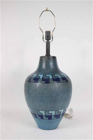 Mid-Century Modern Blue-Glazed Pottery Table Lamp