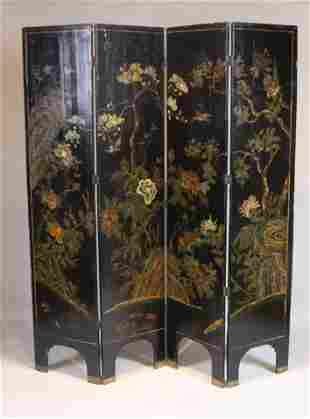 Chinese Painted Lacquer Four Panel Screen