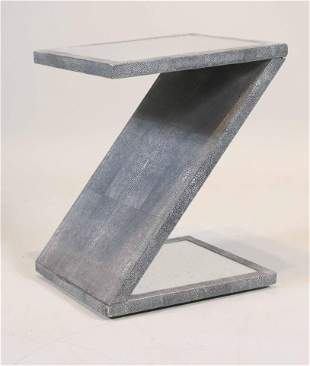 Modern Mirror Top Faux-Lizard Z-Form Side Table
