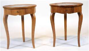 Pair of Neoclassical Style Walnut Side Tables